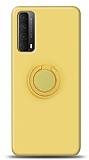 Eiroo Ring Color Huawei P smart 2021 Yüzük Tutuculu Sarı Silikon Kılıf