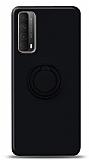 Eiroo Ring Color Huawei P smart 2021 Yüzük Tutuculu Siyah Silikon Kılıf