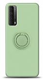 Eiroo Ring Color Huawei P smart 2021 Yüzük Tutuculu Yeşil Silikon Kılıf