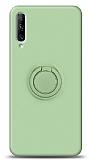 Eiroo Ring Color Huawei P Smart Pro 2019 Yüzük Tutuculu Yeşil Silikon Kılıf