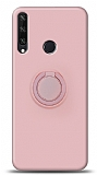 Eiroo Ring Color Huawei Y6p Yüzük Tutuculu Açık Pembe Silikon Kılıf