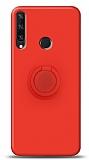 Eiroo Ring Color Huawei Y6p Yüzük Tutuculu Kırmızı Silikon Kılıf