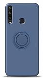 Eiroo Ring Color Huawei Y6p Yüzük Tutuculu Lacivert Silikon Kılıf