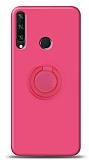 Eiroo Ring Color Huawei Y6p Yüzük Tutuculu Pembe Silikon Kılıf