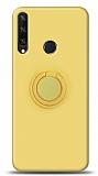 Eiroo Ring Color Huawei Y6p Yüzük Tutuculu Sarı Silikon Kılıf