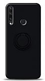 Eiroo Ring Color Huawei Y6p Yüzük Tutuculu Siyah Silikon Kılıf
