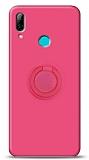 Eiroo Ring Color Huawei Y7 2019 Yüzük Tutuculu Pembe Silikon Kılıf