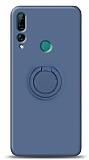 Eiroo Ring Color Huawei Y9 Prime 2019 / P Smart Z Yüzük Tutuculu Lacivert Silikon Kılıf