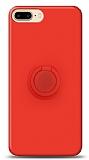 Eiroo Ring Color iPhone 7 Plus / 8 Plus Yüzük Tutuculu Kırmızı Silikon Kılıf