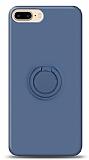 Eiroo Ring Color iPhone 7 Plus / 8 Plus Yüzük Tutuculu Lacivert Silikon Kılıf