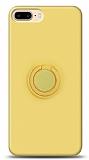 Eiroo Ring Color iPhone 7 Plus / 8 Plus Yüzük Tutuculu Sarı Silikon Kılıf