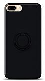 Eiroo Ring Color iPhone 7 Plus / 8 Plus Yüzük Tutuculu Siyah Silikon Kılıf