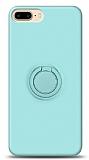 Eiroo Ring Color iPhone 7 Plus / 8 Plus Yüzük Tutuculu Turkuaz Silikon Kılıf