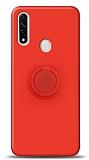 Eiroo Ring Color Oppo A31 Yüzük Tutuculu Kırmızı Silikon Kılıf