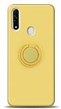 Eiroo Ring Color Oppo A31 Yüzük Tutuculu Sarı Silikon Kılıf