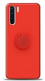 Eiroo Ring Color Oppo A91 Yüzük Tutuculu Kırmızı Silikon Kılıf