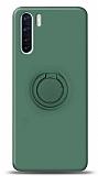 Eiroo Ring Color Oppo A91 Yüzük Tutuculu Koyu Yeşil Silikon Kılıf