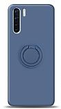 Eiroo Ring Color Oppo A91 Yüzük Tutuculu Lacivert Silikon Kılıf