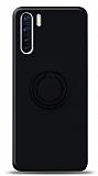 Eiroo Ring Color Oppo A91 Yüzük Tutuculu Siyah Silikon Kılıf