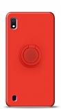 Eiroo Ring Color Samsung Galaxy A10 Yüzük Tutuculu Kırmızı Silikon Kılıf