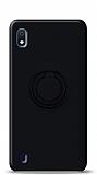 Eiroo Ring Color Samsung Galaxy A10 Yüzük Tutuculu Siyah Silikon Kılıf