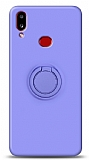 Eiroo Ring Color Samsung Galaxy A10S Yüzük Tutuculu Mor Silikon Kılıf