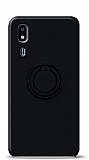 Eiroo Ring Color Samsung Galaxy A2 Core Yüzük Tutuculu Siyah Silikon Kılıf