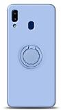 Eiroo Ring Color Samsung Galaxy A20S Yüzük Tutuculu Mavi Silikon Kılıf