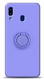 Eiroo Ring Color Samsung Galaxy A20S Yüzük Tutuculu Mor Silikon Kılıf