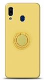 Eiroo Ring Color Samsung Galaxy A20S Yüzük Tutuculu Sarı Silikon Kılıf