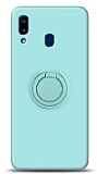Eiroo Ring Color Samsung Galaxy A20S Yüzük Tutuculu Turkuaz Silikon Kılıf