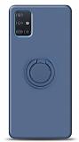 Eiroo Ring Color Samsung Galaxy A51 Yüzük Tutuculu Lacivert Silikon Kılıf