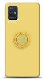 Eiroo Ring Color Samsung Galaxy A51 Yüzük Tutuculu Sarı Silikon Kılıf