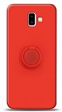 Eiroo Ring Color Samsung Galaxy J6 Plus Yüzük Tutuculu Kırmızı Silikon Kılıf