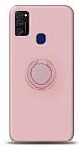 Eiroo Ring Color Samsung Galaxy M21 Yüzük Tutuculu Açık Pembe Silikon Kılıf