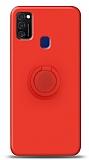 Eiroo Ring Color Samsung Galaxy M21 Yüzük Tutuculu Kırmızı Silikon Kılıf