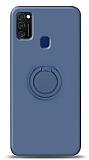 Eiroo Ring Color Samsung Galaxy M21 Yüzük Tutuculu Lacivert Silikon Kılıf