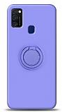 Eiroo Ring Color Samsung Galaxy M21 Yüzük Tutuculu Mor Silikon Kılıf