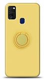 Eiroo Ring Color Samsung Galaxy M21 Yüzük Tutuculu Sarı Silikon Kılıf