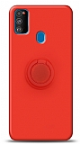 Eiroo Ring Color Samsung Galaxy M31 Yüzük Tutuculu Kırmızı Silikon Kılıf