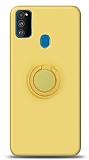 Eiroo Ring Color Samsung Galaxy M31 Yüzük Tutuculu Sarı Silikon Kılıf