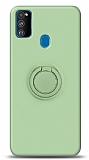 Eiroo Ring Color Samsung Galaxy M31 Yüzük Tutuculu Yeşil Silikon Kılıf