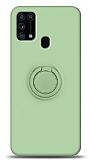 Eiroo Ring Color Samsung Galaxy M31s Yüzük Tutuculu Yeşil Silikon Kılıf