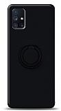 Eiroo Ring Color Samsung Galaxy M51 Yüzük Tutuculu Siyah Silikon Kılıf