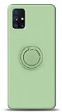 Eiroo Ring Color Samsung Galaxy M51 Yüzük Tutuculu Yeşil Silikon Kılıf