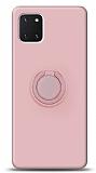 Eiroo Ring Color Samsung Galaxy Note 10 Lite Yüzük Tutuculu Açık Pembe Silikon Kılıf