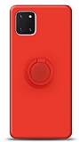 Eiroo Ring Color Samsung Galaxy Note 10 Lite Yüzük Tutuculu Kırmızı Silikon Kılıf