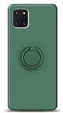 Eiroo Ring Color Samsung Galaxy Note 10 Lite Yüzük Tutuculu Koyu Yeşil Silikon Kılıf