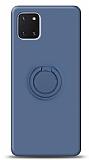 Eiroo Ring Color Samsung Galaxy Note 10 Lite Yüzük Tutuculu Lacivert Silikon Kılıf