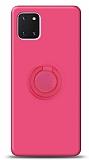 Eiroo Ring Color Samsung Galaxy Note 10 Lite Yüzük Tutuculu Pembe Silikon Kılıf